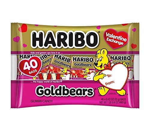 Haribo Valentine#039s Day Goldbears Gummi Candy Exchange Bag  168oz/40ct