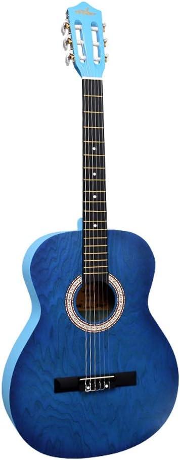 Miiliedy Minimalismo Multicolor Opcional Guitarra clásica 39 pulgadas Principiante Estudiante Hombres Mujeres Entrada Práctica Guitarra Bellamente diseñado Estable Instrumento de viaje
