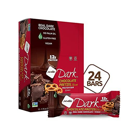 NuGo Dark Pretzel and Sea Salt, 12g Vegan Protein, 200 Calorie, Gluten Free, 24 Count