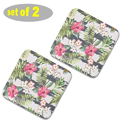 2 almohadillas cuadradas para sillas de cocina de felpa, almohadillas antideslizantes para asientos al aire libre, cojines para sillas, cojines gruesos de asiento 40 x 40 cm, flores de hibisco tropical, diseño de rayas