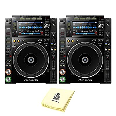 "Pioneer DJ CDJ-2000NXS2 Professional Multi Player DJ CD Player or Media Player (PAIR) with 7"" Multicolor Touchscreen, Platter Controlsm & Complete Rekordbox Integration BUNDLE with Zorro Sounds Cloth by Pioneer DJ"