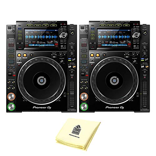 Pioneer DJ CDJ-2000NXS2 Professional Multi Player DJ CD Player or Media Player (PAIR) with 7' Multicolor Touchscreen, Platter Controlsm & Complete Rekordbox Integration BUNDLE with Zorro Cloth
