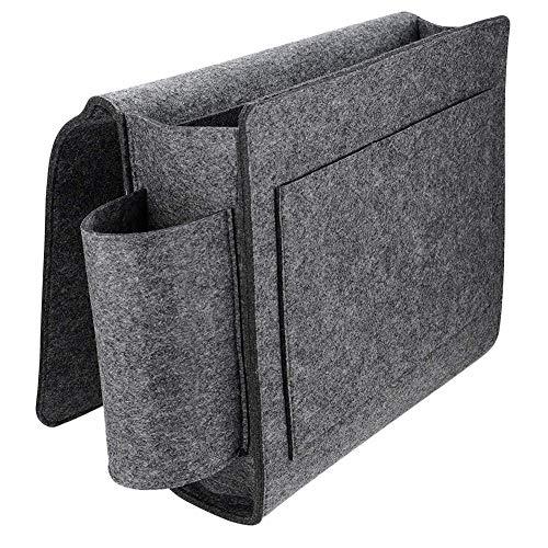 Sunneey Bedtas, vilt, bed, organizer voor boek, nachtkastje ophangen, bed, organizer voor hoogslaper, onder de matras, antislip, grijs