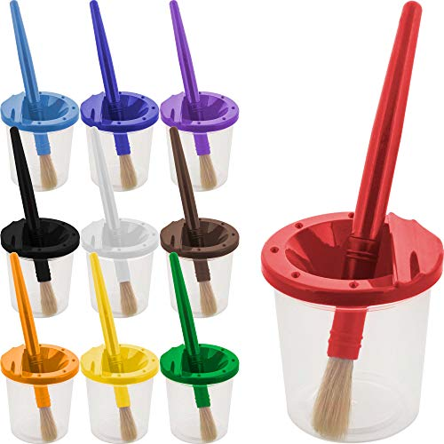 U.S. Art Supply 10 Piece Children's No-Spill Paint Cups with Colored Lids