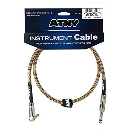 ATNY Braided Electric Guitar Cable – Professional Grade Musical Instrument Amplifier Cord with Nickel-Plated Straight to Right Plugs and Champagne Gold Tweed (3 Feet, Champagne Gold)