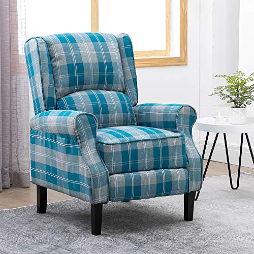 BonChoice Tartan Fabric Recliner Chairs for Living Room Bedroom Fireside, Adjustable Armchair Lounge Reclining Sofa Home Theater Individual Seating, Wing Back Design with Vintage Blue Check Pattern