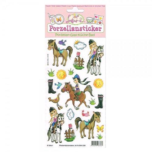 Porzellansticker, Porzellandekor,Pferdemädchen, klebt auf Porzellan, Fliesen, Glas, glatten Oberflächen