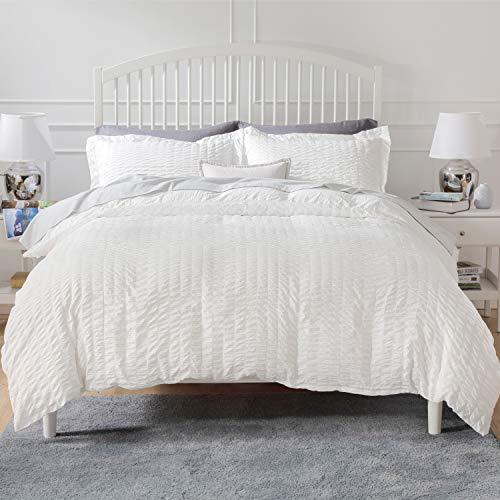 Bedsure White Textured Duvet Cover Queen Size - Seersucker Stripe...