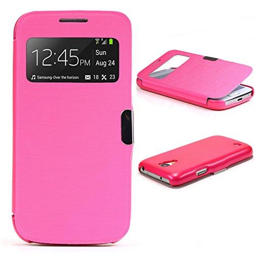 Urcover® View Case Schutz-Hülle kompatibel mit Samsung Galaxy S4 Mini | Hart Kunststoff Pink | Elegant Wallet Cover Sicht-Fenster | leichte Schale dünne Tasche