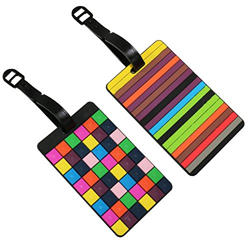 Set of 2 Coloured Rubber 3D Travel Holiday Luggage Name Tags Choose Your Pair (Cubes & Stripes)