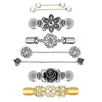 MJartoria 8PCS Fit Dress Cinch Clips Set Scarf Clip Retro Cardigan Collar Clips Shirt clip Dresss Clips Back Cinch Shawl Clip Sweater Clips Coat Chain Clips for Women Antique Flowers with Faux Pearl