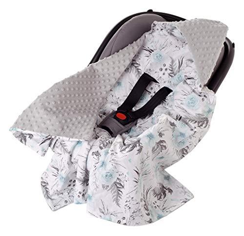 Einschlagdecke 100% Baumwolle 85x85cm Kuscheldecke für Kinderwagen Babyschale universal Baby Decke doppelseitig Babydecke Buggy Autositz (graue Blument mit grauen Minky)