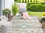 the carpet Palma In- & Outdoor Teppich Flachgewebe, Robust, Modernes Design, Vintage Optik, Used Look, Superflach, UV- und Witterungsbeständig, Rauten Muster, Creme, 200 x 290 cm