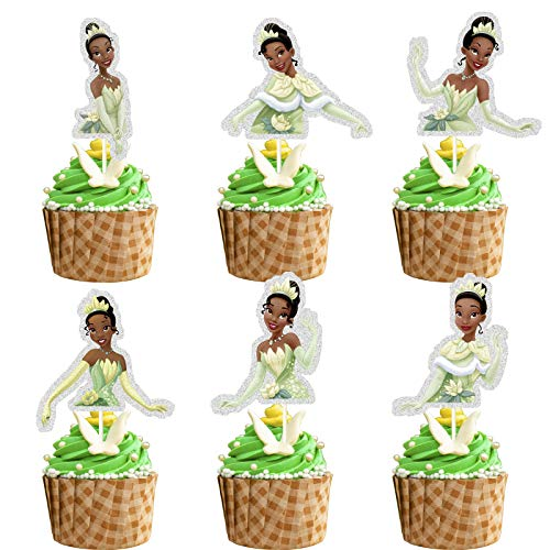 Glitter Princess Tiana Inspired Cupcake Topper, The Princess and the Frog Theme Birthday Party Suppliers, Disney Princess Tiana Cupcake Decoration, Girls Princess Party Favor