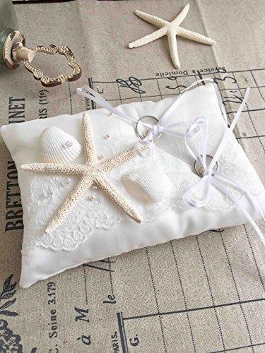 海の星のリングピロー【天然の貝がらスターフィシュ・イタリア製サテン】