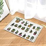 Maceta de Cactus Familiar de Estilo de Dibujos Animados Alfombrillas de baño, felpudos, Antideslizantes y fáciles de Limpiar, imprescindibles del hogar40x60cm