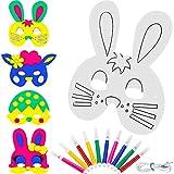 Zhehao 16 Piezas de Máscara de Papel de Animal de Manualidades Máscara de Pintura de Conejo en Blanco para Disfraz de Pascua con 10 Piezas de Plumas de Color