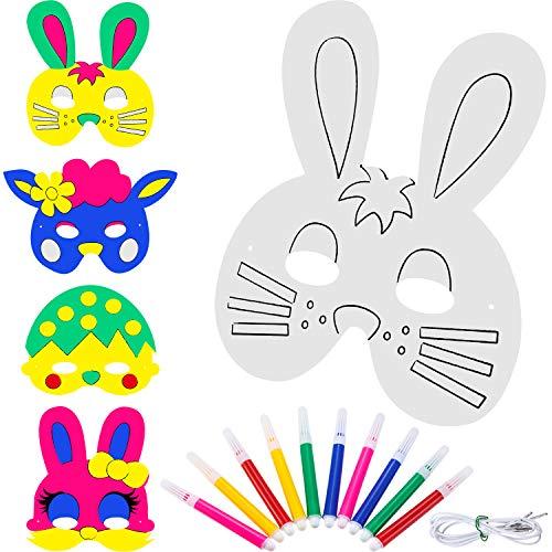 Zhehao 16 Piezas de Mscara de Papel de Animal de Manualidades Mscara de Pintura de Conejo en Blanco para Disfraz de Pascua con 10 Piezas de Plumas de Color