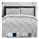 KI&KA HOME Pinch Pleat Duvet Covers Queen Size 3 Pieces Duvet Cover Set with 2 Pillow Sham, Soft Microfiber Bedding Set for All Seasons, Light Gray