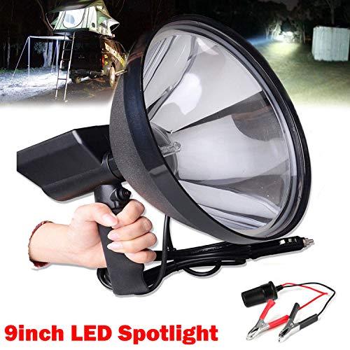 Foco de mano de alta potencia 100 W 9 pulgadas 1.5 millas de rango de luz de disparo foco para pesca, camping, caza fuera de carretera + pinzas de conversión de batería