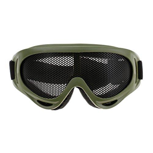 Toygogo Gafas Deportivas Al Aire Libre Máscara Seguridad Gafas De Malla De Acero Gafas Protectoras para Los Ojos - Ejercito Verde