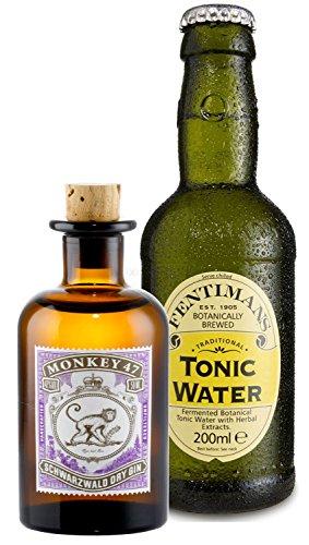 Gin Tonic Probierset - Monkey 47 Schwarzwald Dry Gin 50ml (47% Vol) + Fentimans Tonic Water 200ml inkl. Pfand MEHRWEG