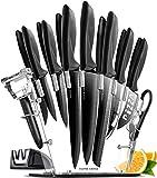 17 Piezas Set Cuchillos Cocina Profesional - Juego de Cuchillos de Cocina Acero Inoxidable con Soporte de Acrílico - 6 Cuchillos Carne, Tijeras, Pelador, Afilador de Cuchillos - Kitchen Knife Set