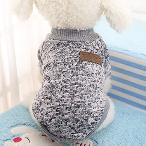 Idepet Haustier Katze Hund Pullover, warme Hund Pullover Cat Kleidung, Fleece Haustier Mantel für Welpen Small Medium Large Dog, Pink & grau (S, Grau)