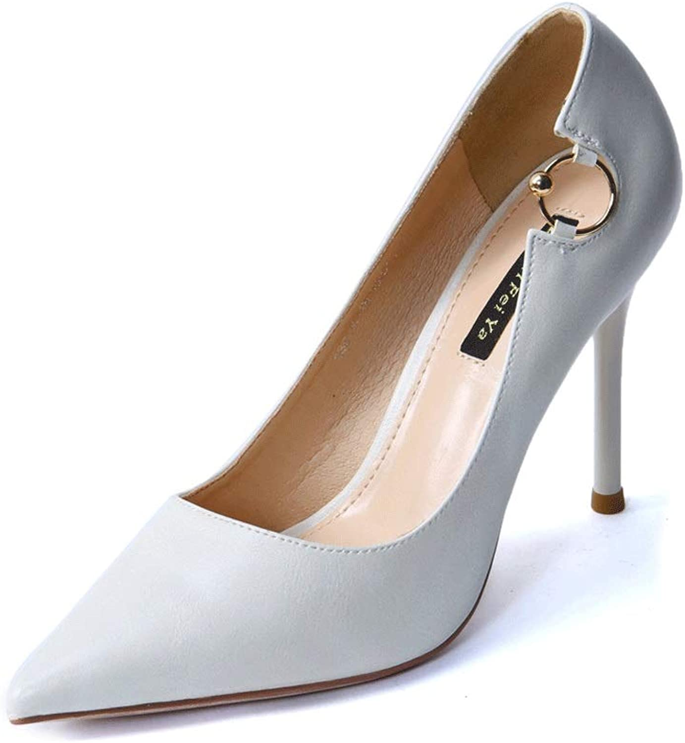 Elegant Beige Professional Commute OL Ladies High Heels 2018 Spring and Summer New Metal Ring Pointed Stiletto shoes Women Pumps