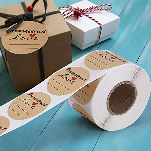 "2"" Round Kraft Homemade with Love Sticker with Lines for Writing, Black Font and Red Heart Canning Labels, 500 Labels per roll"