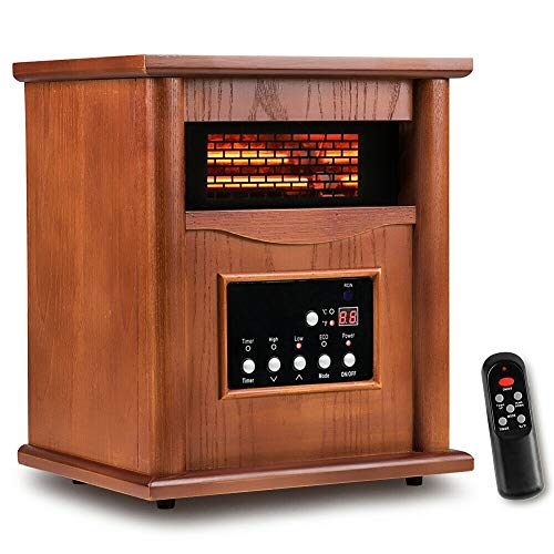 5100BTU Wood-Grain Compact Stove Machine 3 Setting Safety Overheat Protection 12H Timer Electronic Lock Cute Convenient Lightweight Electric Infrared Space Heater with Remote Control