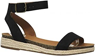 Women's Espadrille Single Strap Summer Sandals,Open Toe Strappy Flatform Sandals Summer Casual Studded Sandal
