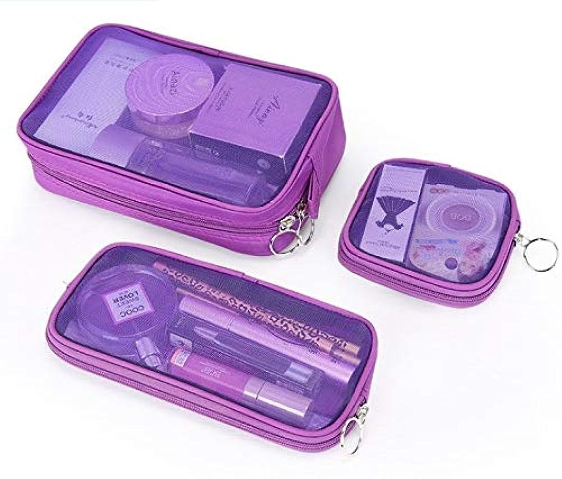 悪意のある咳クロニクル化粧箱、3の透明メッシュ化粧品袋セット、ポータブル旅行化粧品袋収納袋、美容ネイルジュエリー収納ボックス (Color : Purple)