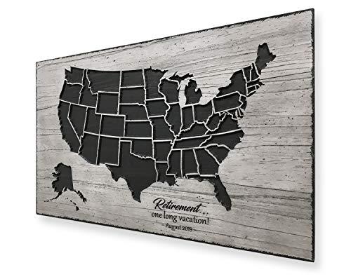 Pensioen Amerikaanse kaart reizen logboek hout gesneden kaart van Amerika Gemaakt in Amerika Gepensioneerde Carrière veteraan Custom Decor te herdenken vieren
