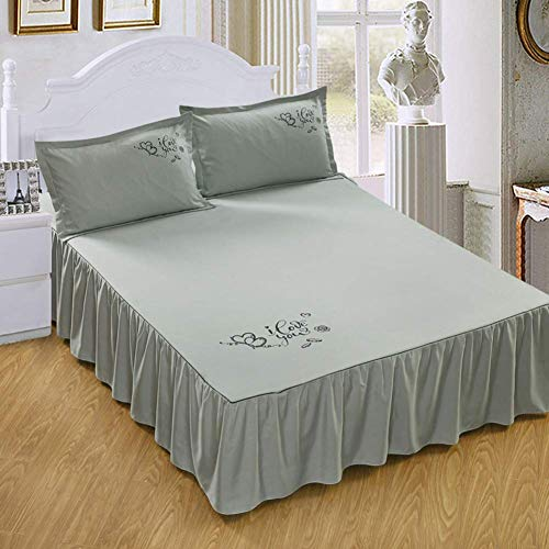 WZF Soft printed mattress cover, comfortable breathable lace bed skirt Non-slip mattress cover Solid color bedspread Polyester-l 200x220 cm (79x87 inches)