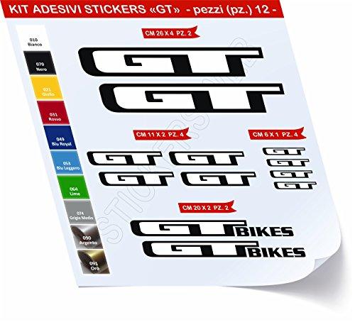 Aufkleber Fahrrad GT _ KIT 2_ KIT Aufkleber Stickers 12Stück–bici Bike Cycle wählbar Cod.0429, Bianco cod. 010