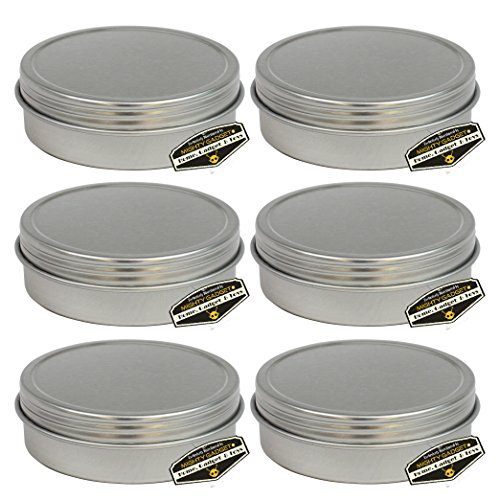 Affordable 6 Pack of Mighty Gadget (R) Screw Top Round Steel Tin Cans (2 oz)