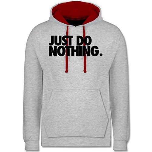 Shirtracer Statement - Just do Nothing. - L - Grau meliert/Rot - graue Pullover just so Nothing - JH003 - Hoodie zweifarbig und Kapuzenpullover für Herren und Damen
