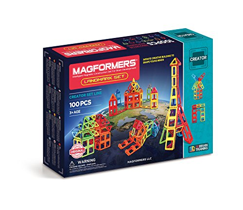 Magformers Landmark Set (100-Pieces) Rainbow Colors Magnetic Building Blocks, Educational Magnetic Tiles Kit , Magnetic Construction STEM Toy architecture Set