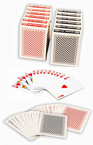 ChipsAndGames Value Pack of 12 Decks of Paper Playing Cards with Plastic Coating, 6 Red and 6 Blue (Poker Size Regular Index)