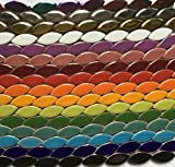 """50 Pieces Mixed Color 1"""" Ceramic High Gloss Leaf Flower Petal Shaped Mosaic Tiles Mosaic Making Supplies"""