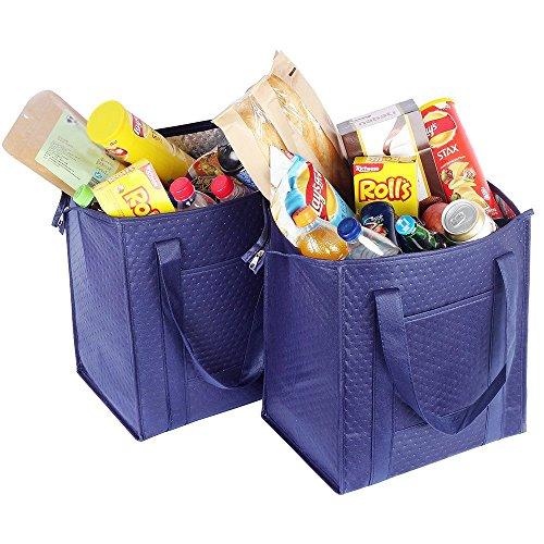 ATBAY Isolierte Einkaufstasche, groß, wiederverwendbar, mit Reißverschluss oben und Außentasche, Marineblau (2 Stück)