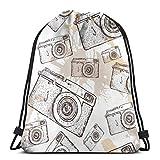 NPNP Bolso clásico con cordón, Mochila de Gimnasia con cámara Retro Bolsos de Hombro Bolsa de Almacenamiento Deportivo para Hombre Mujer