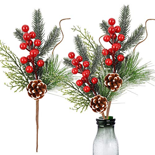 Meiliy 10pcs Christmas Picks Holly Red Berry Stems 12inch Pinecone Branches Christmas Craft Supplier Floral Arrangement for Christmas Tree,Festival,Home Decor