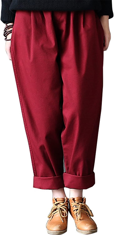 IDEALSANXUN Women's Cotton Solid Loose Harem Pant with Pocket