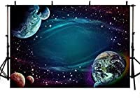 新しい宇宙写真の背景地球惑星ギャラクシーハッピーBirtNEWayベビーシャワーの背景バナースタジオ写真小道具ビニール5x3ft