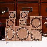 Timbro in legno Lychii per artigianato, 8 pezzi di sigillo in gomma vintage in legno con motivi a foglie di felce, francobolli montati per bricolage, confezioni regalo, articoli per feste in ufficio