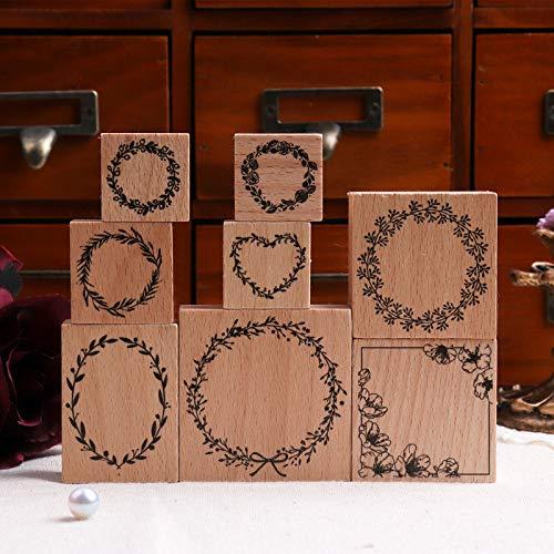 Sello de madera Lychii para manualidades, 8 sellos de goma de madera vintage con patrones de hojas de helecho, sellos postales montados para mejoras del hogar, envoltura de regalos