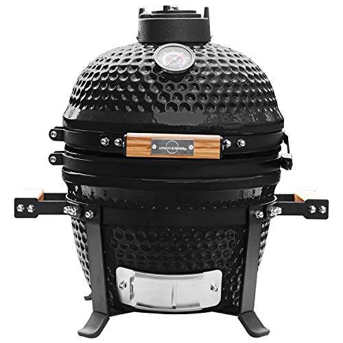 London Sunshine Ceramic BBQ Charcoal Kamado Grill 13 inch Portable Tabletop BBQ Grill Black