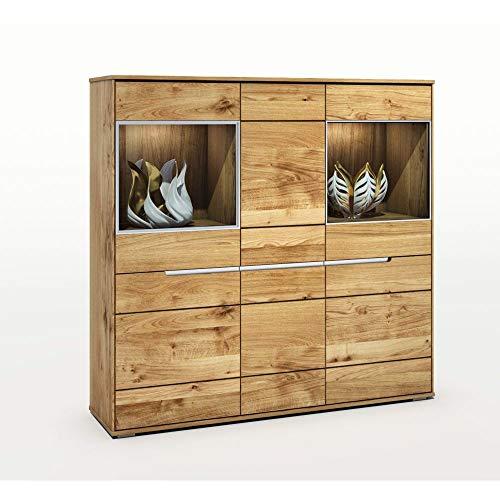 Elfo Betty - Armario con vitrina (madera de roble salvaje barnizada, 162 cm)